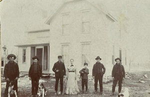 Albert and Anna Elizabeth Glick Dickerson, with sons, from left, John, George, Eddie, Charlie, and Will. Circa 1900