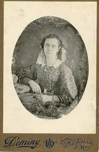 This photo of Sarah Jane Grant was apparently taken in Maysville, Missouri. Date uncertain.